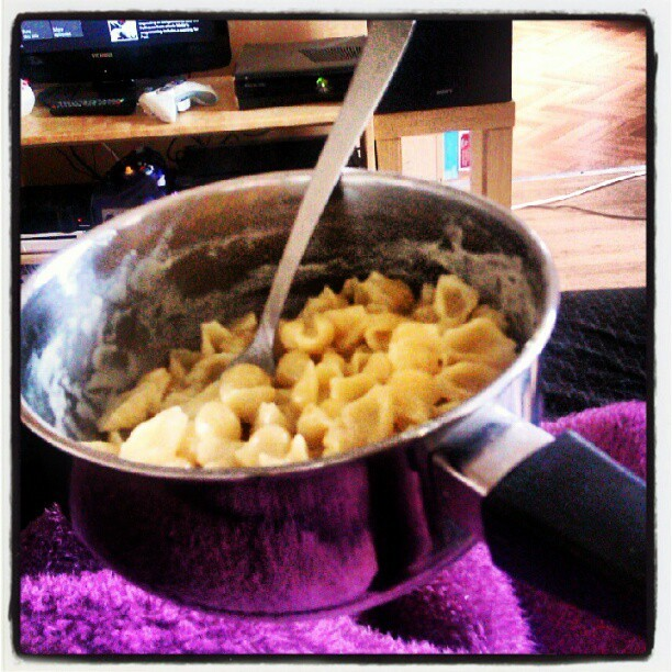 Who needs bowls when you have the thing you cooked in and a fork! (Taken with Instagram)