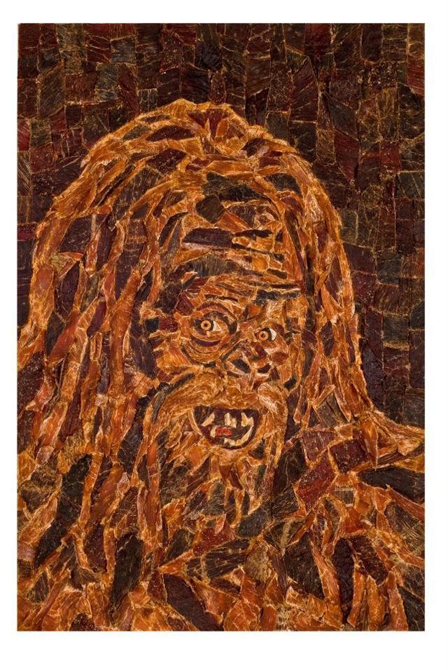 buzzfeed:  laughingsquid:  Beef Jerky Mosaic Portrait of Sasquatch by Jason Mecier  Beef jerky is probably one of the greatest foods ever invented. It's pretty close to the top of the list.