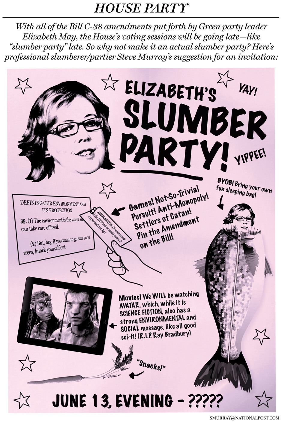 Sleepover on the Hill: Your guide to Elizabeth May's omnibus bill slumber partyWith all the Bill C-38 amendments, the House's voting sessions will be going late — like 'slumber party' late. So why not make it an actual slumber party?