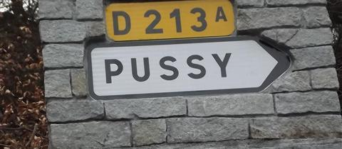 The village of Pussy is near the Col de la Madeleine, a 2000m mountain pass on the route of this year's Tour de France. The village sign has been stolen so often that the mayor ordered it to be encrusted into cement and stone to deter thieves.