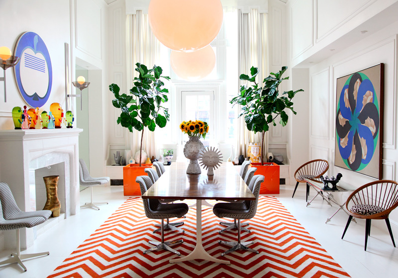 Jessica Antola, Jonathan Adler and Simon Doonan's NYC dining room