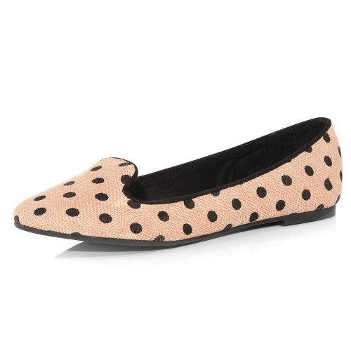 Nude Polka Dot Smoking Slipper - $25, Dorothy Perkins I think this polka dot print has convinced me I need to get in on the smoker flat trend.
