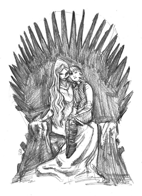 csmithart:  Warmup sketch: Cersi and Tommen on the Iron Throne I really love this scene.