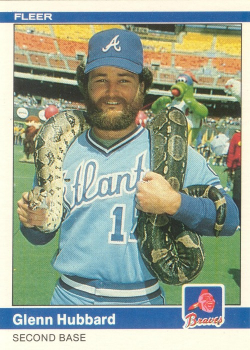 Glenn Hubbard clearly had an off-season job as a carnival snake charmer. I don't think you'd catch Dan Uggla in this type of pose. (h/t thatsonpoint.tumblr.com/)