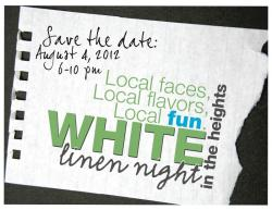 White Linen Night in the Heights!! I had SOO much fun at this last year biking around! Now that I have my own bike it'll be even better! I bought my DUAL piece at this event last year!