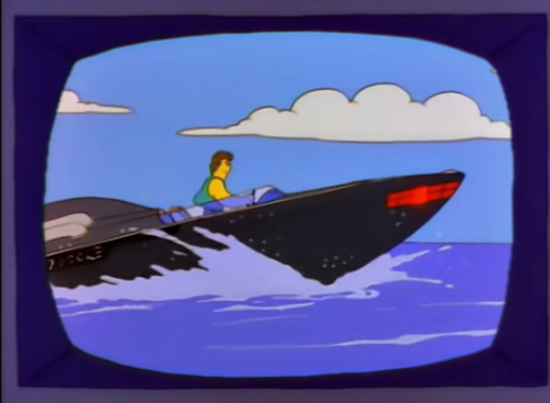 "*We now return to ""Knightboat: the Crime-Solving Boat""*  Michael: Faster, Knightboat! We gotta catch those starfish poachers. Knightboat: You don't have to yell, Michael, I'm all around you. Michael: Oh, no! They're headed for land. We'll never catch them now.  Knightboat: Incorrect: look! A canal. Homer: Go, Knightboat, go! Bart: Oh, every week there's a canal. Lisa: Or an inlet. Bart: Or a fjord. Homer: Quiet! I will not hear another word against the boat."