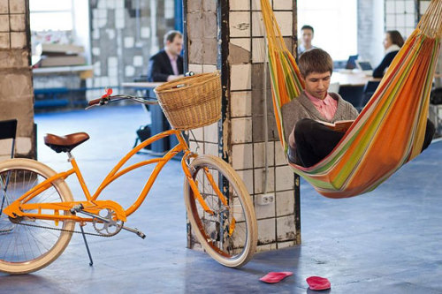 "If the future of work includes hammocks, sign us up.  utnereader:  The Future of Work ""At first, there seems a discrepancy: we hear incessant talk of low job growth and economic distress, but see people tapping expensive smartphones and buying the latest social-mobile app. Indeed, the technology and design industries seem unaffected by the recession, set to continue on the same course of planned obsolescence they've been on for decades. But a second look reveals that advances in these sectors are helping people adjust to life in a pared-down economy, in a world where the environment has become a main concern. Our recession isn't happening in a vacuum, and advances in design and technology, paired with an economy in flux, are changing the definition of both work and the workplace."" Suzanne Lindgren for Utne Reader"