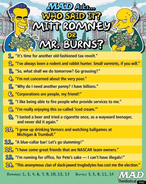 Who said it: Mitt Romney or The Simpsons' Mr. Burns