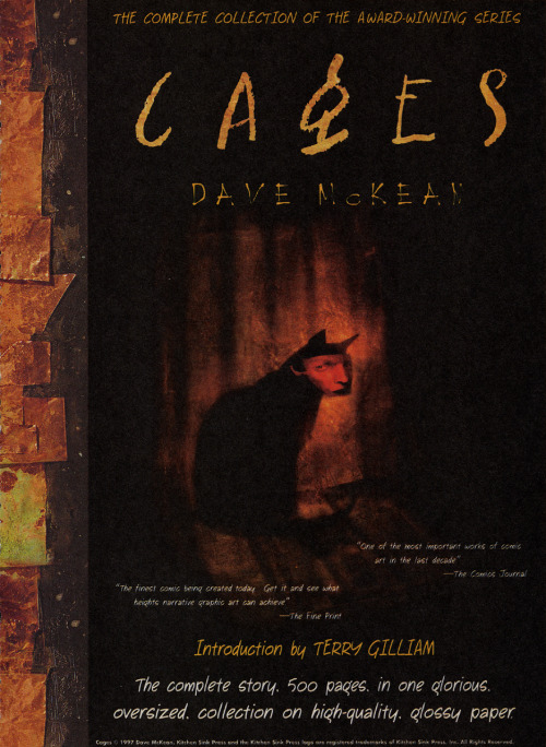 Solicitation ad for collected edition of Cages by Dave McKean, 1997.