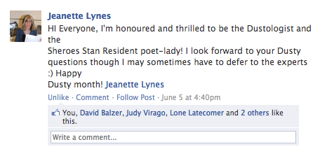 "Meet our third ""Sheroes Stan"", Jeanette Lynes.  Related: [sheroes stan] Ask A Sheroes Stan: Paul Petro Finally Answers Super Important Grace Jones Q's Earlier this year, we were proud to launch our Sheroes Stan residency, a program that connects aca-fan knowledge and wisdom to the vastly growing ragtag crew of international and local artists that are regularly involved with Sheroes each month. Starting next week, this genuine #1 Dustologist will be answering any Dusty Springfield questions you might have in the lead up to Sheroes #11: Dusty Springfield. (In fact, she's even written an amazing collection of poetry inspired by Dusty!) Consider her a far more resourceful Yahoo Answers humanoid at your disposal for anything-related to our Queen of the Postmods. Got any burning q's? Ask 'em here. (Or simply join our Facebook group for Jeanette's Dust-ness.)"