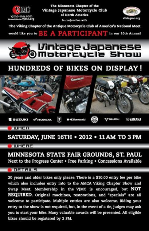 I won't be able to make it this year, but if you are into vintage bikes you should head out to the state fair grounds this Saturday.