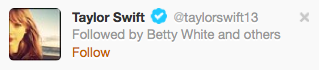 Huh. Betty white is following Taylor Swift. Think she'll be a bad influence on her?