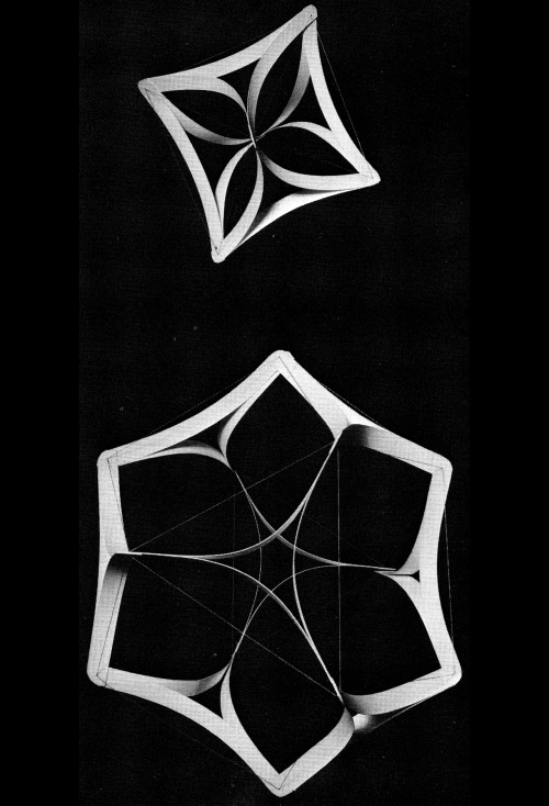 WILLIAM BLACKWELL GEOMETRY IN ARCHITECTURE: MODELS OF AN OCTAHEDRON AND A CUBOCTAHEDRON, 1983
