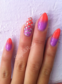 Purple to coral gradient with rhinestone accents. I loved this color combo but the heat quickly started to warp my polish and the rhinestones started shifting. So weird.