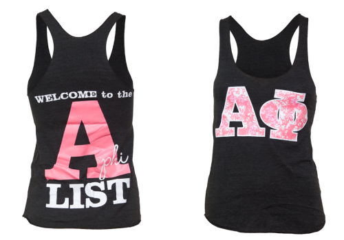 adamblockdesign:  Welcome to the A-List - Alpha Phi Racerback