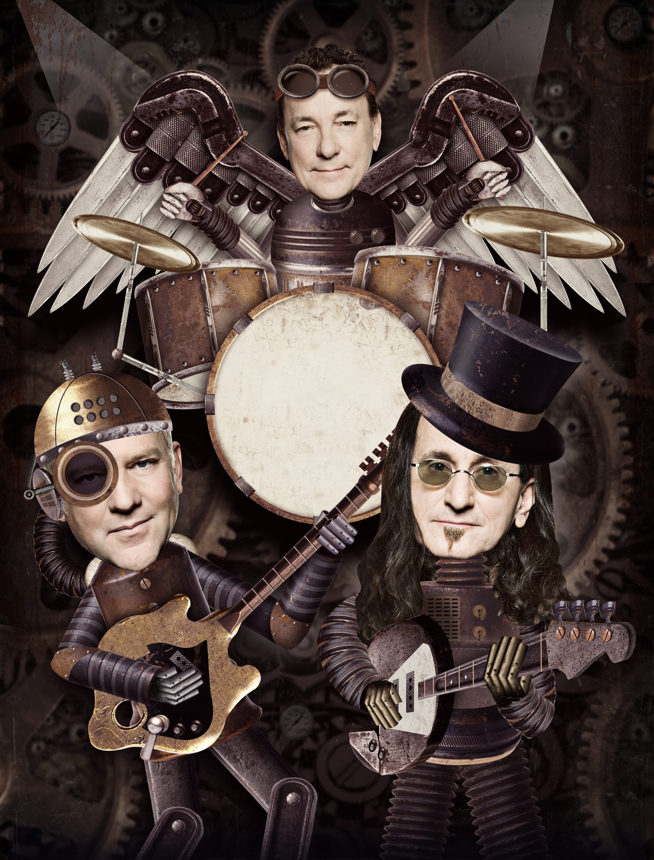 Illustration for Prog Magazine review of the latest Rush album. A SteamPunk fantasy.