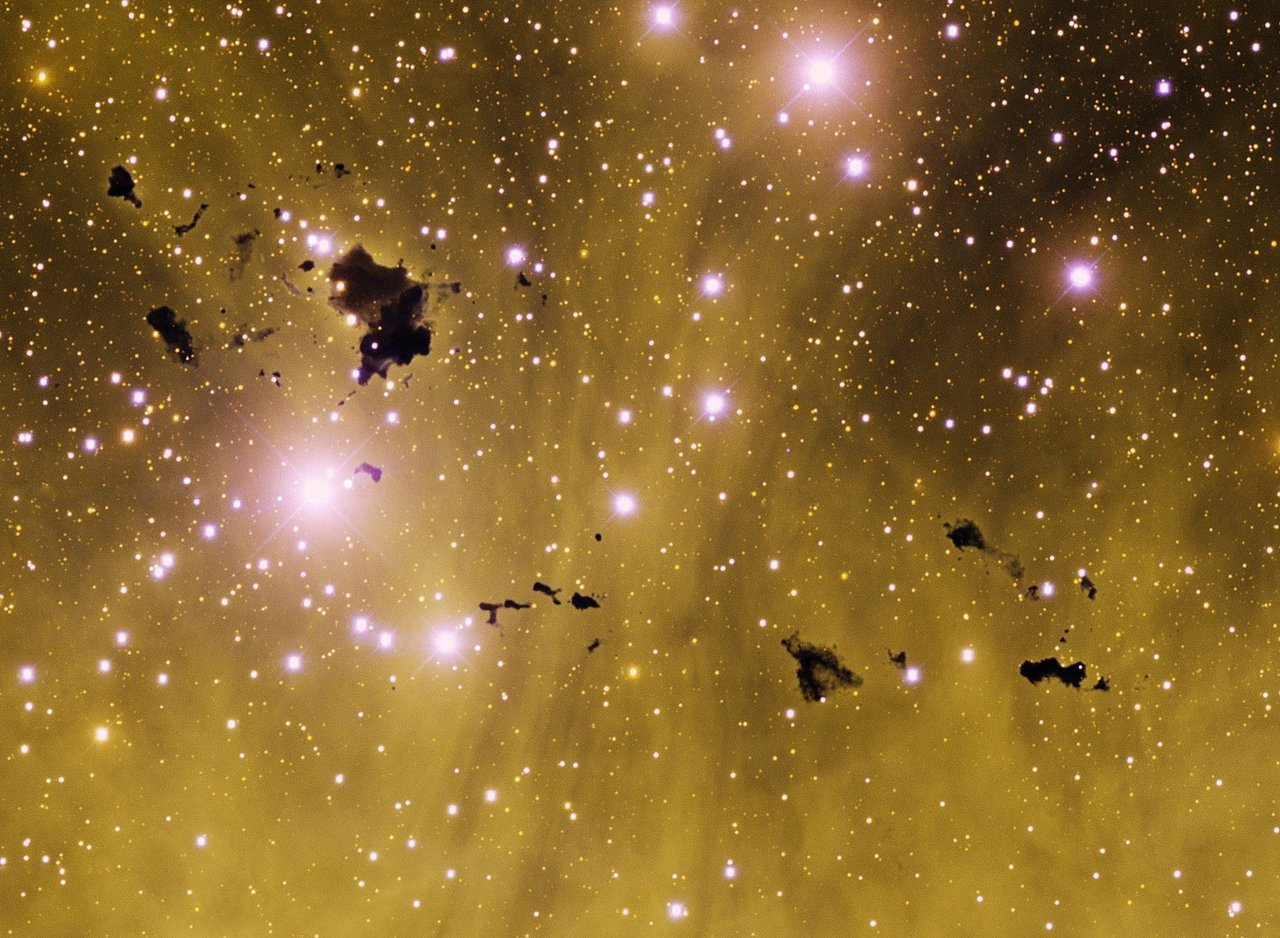 "Astronomy Picture of the Day - Thackeray's Globules Credit & Copyright: T. Rector (U. Alaska Anchorage), & N.S. van der Bliek (NOAO/AURA/NSF)""These are larger dust bunnies than you will find under your bed. Situated in rich star fields and glowing hydrogen gas, these opaque clouds of interstellar dust and gas are so large they might be able to form stars. Their home is known as IC 2944, a bright stellar nursery located about 5,900 light years away toward the constellation of Centaurus. The largest of these dark globules, first spotted by South African astronomer A. D. Thackeray in 1950, is likely two separate but overlapping clouds, each more than one light-year wide. Along with other data, the above representative color image from the 4-m Blanco telescope at Cerro Tololo, Chile indicates that Thackeray's globules are fractured and churning as a result of intense ultraviolet radiation from young, hot stars already energizing and heating the bright emission nebula. These and similar dark globules known to be associated with other star forming regions may ultimately be dissipated by their hostile environment — like cosmic lumps of butter in a hot frying pan."""