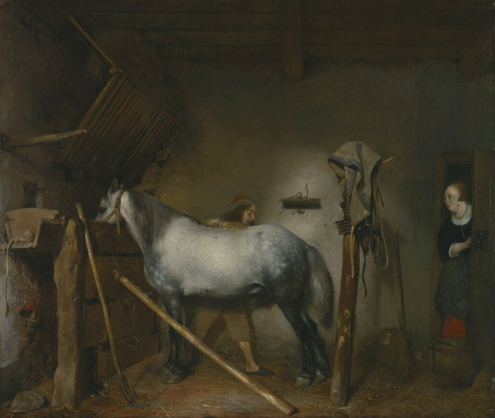 Not all horse paintings display the subject's serious equestrian skills. This painting shows a quiet moment between an owner and his prized horse. The Horse Stable, Gerard ter Borch, 1652-54