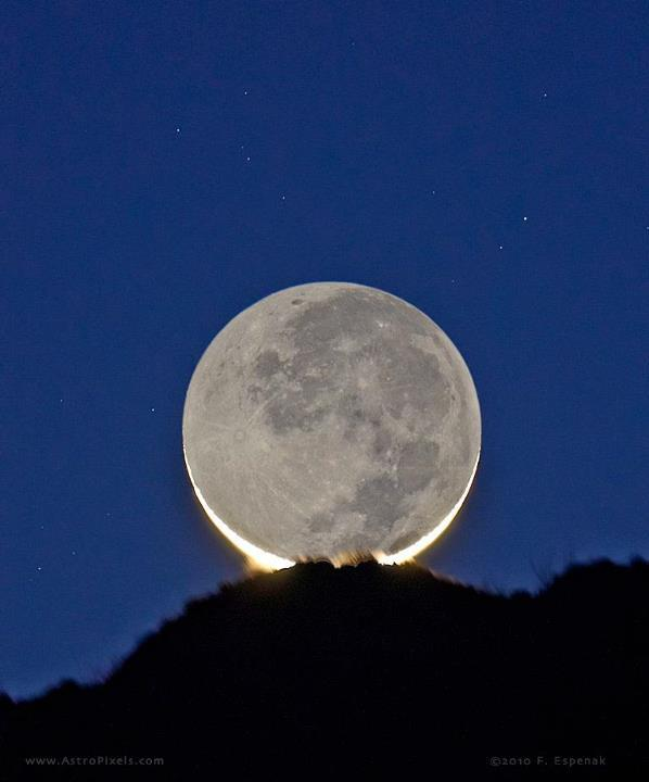 "thescienceofreality:  Earthshine - Arizona - USA""The young crescent moon sets behind mountains near Portal, Arizona. Earthshine is reflected earthlight visible on the Moon's night side which is best visible during the lunar crescent phase."" Copy Credit : Fred Espenak"