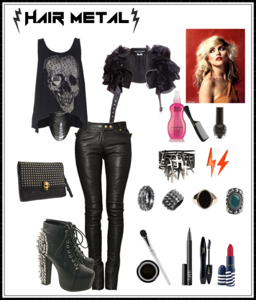 Hair Metal Style by jessica-am featuring platform bootiesClub top, $45Junya Watanabe cropped jacket, $2,184Balmain black skinny pants, €2.985Jeffrey Campbell platform booties, €198Alexander McQueen genuine leather handbag, $1,116Diane Kordas diamond jewelry, $1,175Maison Martin Margiela ring, £424Tom Binns punk rock jewelry, $125Emanuele Bicocchi silver ring, €115Swell vintage looking jewelry, $28ASOS stacking bangle, $13Post earrings, $7.30Giorgio Armani waterproof eyeshadow, $32NARS Cosmetics thick eyeliner, $27Christian Dior makeup brush, $27Lancôme mascara, $26MAC Cosmetics lipstick, $16Beauty product, $18Nail polish, $5Kent Brushes Handled Rake Comb, £2.95