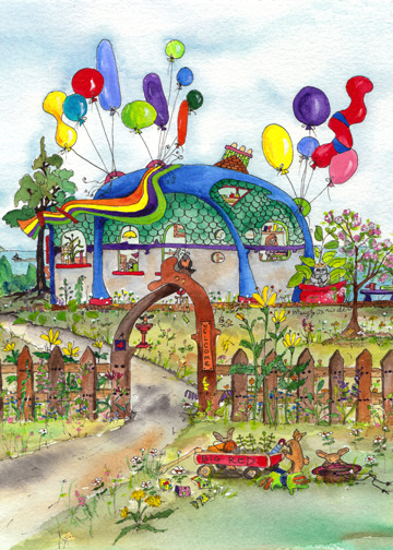 "The House That Loved Balloons by Mary Jo Oxrieder, Raven Rocks Studio Story:  When we first saw this sweet house nestled on a hill, views beyond belief, our hearts were immediately captured. We moved heaven and earth to make it our own. The day we arrived, keys in hand, hearts in our throats to think it was finally ours, balloons floated gaily in the morning breeze. We thought, ""Wasn't that a lovely welcoming gift from the sellers?"" But each morning, new balloons – always balloons! Can you imagine a life lived daily in this magic celebration? Those crazy balloons - they changed everything for us. More music, more laughter, more smiles, more joy."