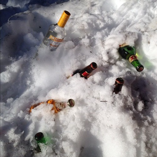 Welp, if you don't have a fridge, snow will do. #boozehound (Taken with Instagram at Crater Lake)