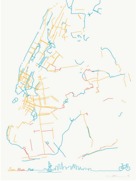After the map of America's bike lanes and these minimalist maps of famous cities' transit systems, a minimalist map of New York City's bike lanes from Pop Chart Lab.