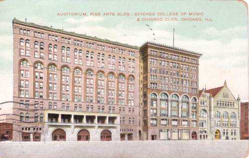 A 1908 postcard showing the Michigan Avenue street view with the Chicago Athletic Association where Abdu'l-Baha gave a talk on November 1, 1912.  This building is now closed to the public.  It maybe that someday we can visit the rooms where Abdu'l-Baha talked in all their 1912 splendor. This glorious street of buildings representing the best of Chicago more than 100 years ago remains active and busy today, with huge modern towers just a block to the west and now lush and lovely parks on the lakefront, where before there were miles of train tracks.