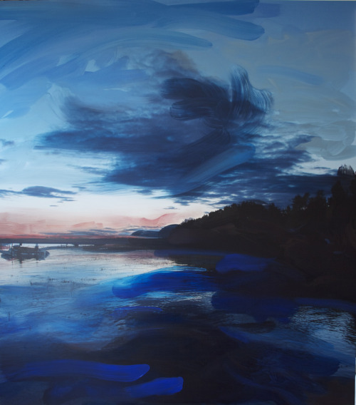 "On Dock At Dusk 45""x40""Digital Print and Oil on Sintra This is a new commissioned piece I just finished"