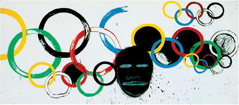 "Jean-Michel Basquiat & Andy Warhol ""Olympic Rings"" (1985)"