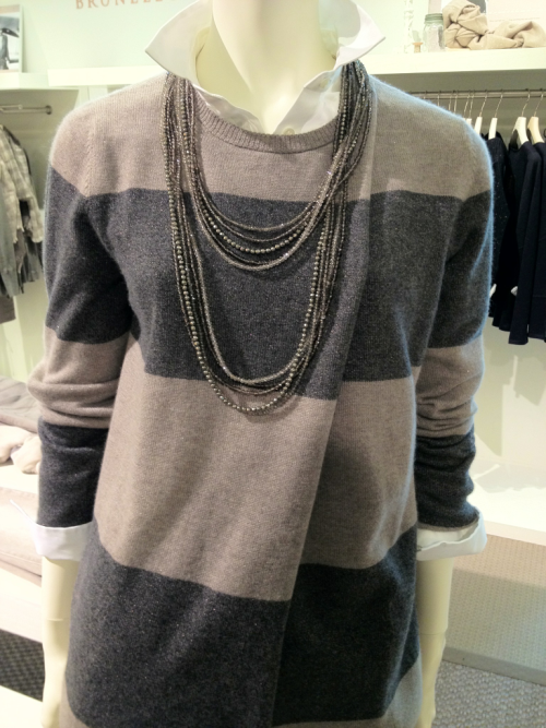 Brunello Cucinelli women's sweater, shirt and necklace.