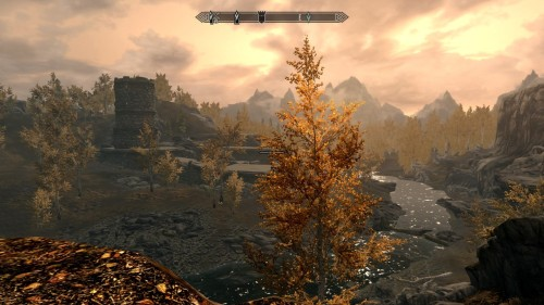 The way to Riften is truly beautiful, and I am finding a sense of calm in my days on the road. Skyrim's weather has even been agreeable, and I travel in mild weather with the wind at my back. Rivett has promised to meet me there, and has told me of a house that I might like. I am skeptical, as my cabin near Ivarstead has always been enough and I have never had need of lavish things. I am waiting for him to prove me wrong, I suppose, or I might not even make the journey. There have been a few dangers on the road; trolls, bears and plenty of wolves—but nothing entirely out of the ordinary. My offensive magic is improved enough from my teachings at the College that I can handle myself quite effectively. Though I generally try to sneak past any unnecessary battle. The fire is dying down, and the chill is finally beginning to get to my hands so I will close this entry with the hope that I will run across a patch of blue mountain flowers in the morning. My travel-stock is getting low.