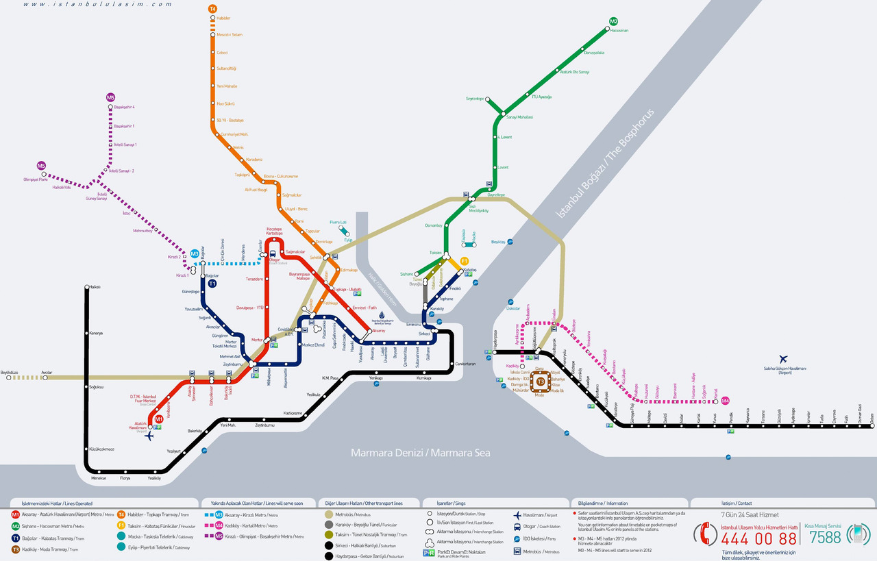 "Unofficial Map: Istanbul Rapid Transit, by Kerim Bayer One of the things I love about running this blog is when amateur map designers send me their work for review. The quality of these maps is often amazing, and this one of Istanbul's rapid transit network by Istanbul native Kerim Bayer is a fantastic example. Design- and quality-wise, it far surpasses the official map (shown in the images above for comparative purposes), which is a bit of a shambles: weird angles, muddy colours, poorly drawn and a bit old-fashioned. By contrast, Kerim's map is bright, clear and modern. Have we been there? No. What we like: It's obvious a lot of thought and attention to detail has gone into this map, including what parts of Istanbul's transit system actually constitute ""rapid transit"". As a result, dedicated BRT bus routes are shown, but the city's two short gondola cable cars are not. The general layout of the map is very pleasing, with nice even spacing between stations and well thought-out interchanges between lines. I especially like the addition of walking distances between platforms to give an idea of how long a transfer might take. The colours used throughout the map are bright and modern - the substitution of light blue for water instead of a heavy grey makes a huge difference to the mood of the map. What we don't like: Despite looking fantastic, there is one huge drawback with Kerim's map: everything is just too small in comparison to the finished size of the map. The PDF Kerim sent me is around 41 inches wide, or just over a metre. This seems to me to be a realistic final size for an in-car map, or a map you might find at a train station. However, his station labels at that final size are set at a mere 12 points - far too small to be read at any distance, or on a moving train. Similarly, I feel that the route lines themselves are a little thin and spindly at the map's final size - especially for the ""under construction"" routes, which have a white stroke down the middle of the line, making them very visually weak at any distance. I'd also like to see a little more differentiation between the different modes of transit shown on the map: at the moment it's a little hard to tell which lines are BRT as opposed to tram or light rail, for example. Finally, Kerim's map sacrifices some information shown on the official map, such as the location of park-and-ride stations. While it helps his map look cleaner, this is important information for commuters and should be considered for inclusion. Our rating: A beautiful-looking map that suffers slightly because of real-world considerations, but still an amazing piece of work that shows great potential. Four stars.  (Source: via email from Kerim)"