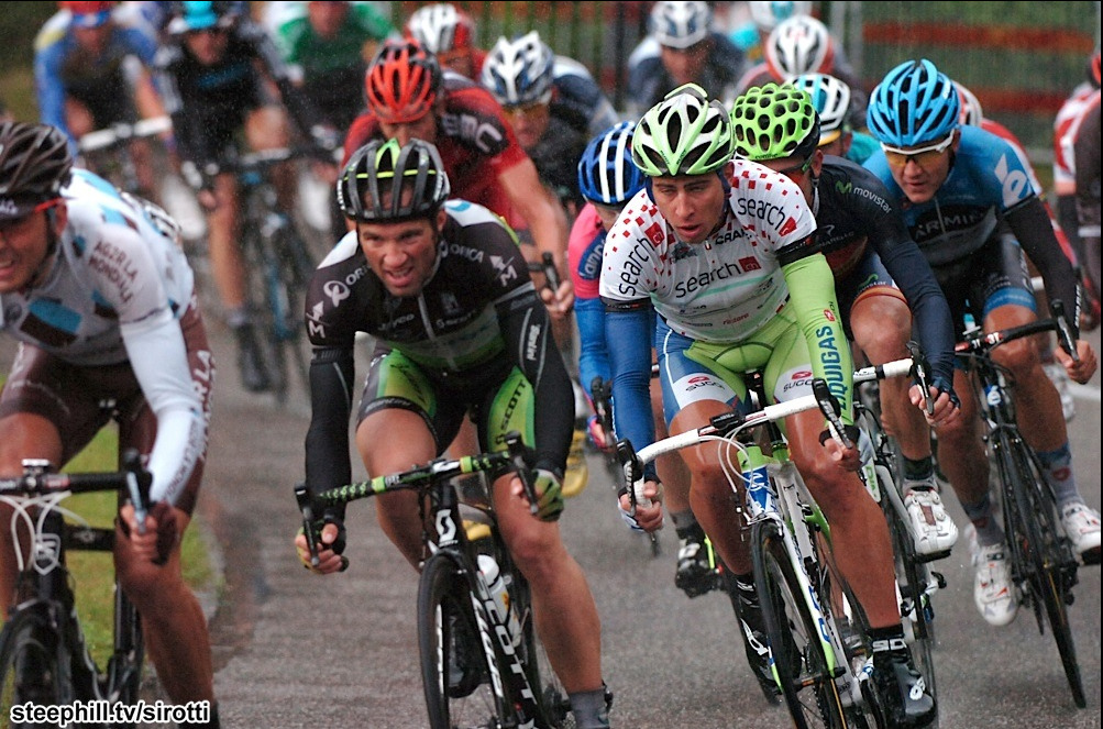 Peter Sagan's face is priceless (guy in spotted jersey)