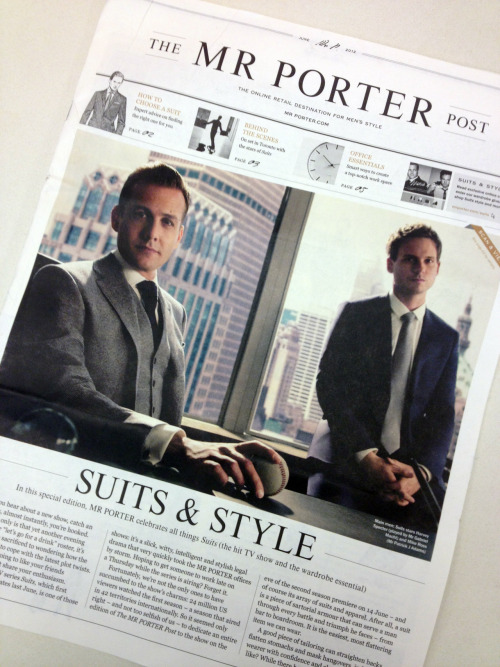 Mr Porter has collaborated with TV show 'Suits' on a series of promotions ahead of the premiere of its second season on June 14. There's a fashion show, a microsite, a Suits & Style pop-up store, an app, and as above, a special edition copy of The Mr Porter Post, being handed out by Acne-wearing, cycling male models. We were lucky enough to be handed one in New York, but they're also out and about in Los Angeles, San Francisco and Chicago. Check out more, here.