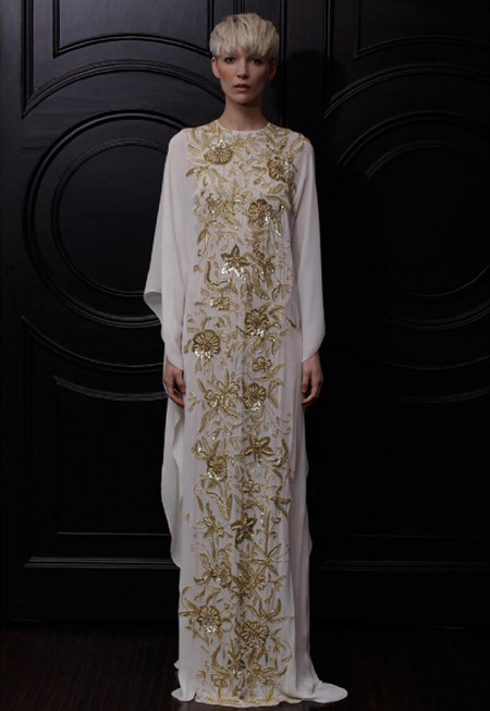 What would Arianne wear?A beautifully embroidered Naeem Khan Resort 2013 gown.
