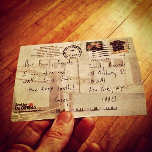 Mr. @caseysheamusic sends us post cards from the road. We love post cards. Note our address, send us some! :) (Taken with Instagram at Family Records)