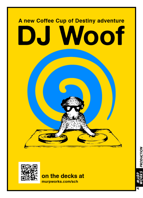 DJ Woof - on the decks - Blue/Yellow.  SCHRÖDINGER'S Coffee House