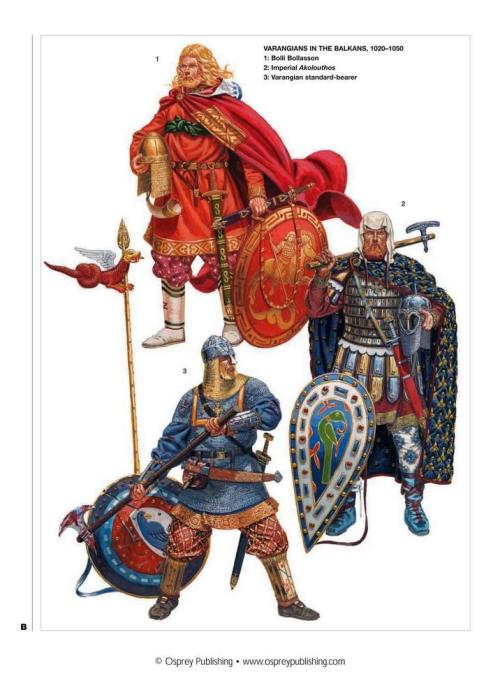 clearairturbulence:  Varangian Guard The Varangian Guard (Greek: Τάγμα των Βαράγγων, Tágma tōn Varángōn) was an elite unit of the Byzantine Army in 10th to the 14th centuries, whose members served as personal bodyguards of the Byzantine Emperors. (Source: Wikipedia)