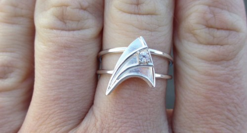 Geekcraft of the day: Star Trek engagement ring. ENGAGE. Product link Via