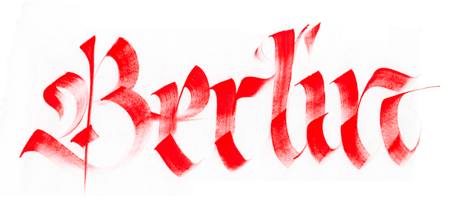 Calligraphi.ca Berlin, brush and red Tempera on paper. Giuseppe Salerno