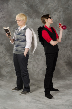 nostopdasgay:  combinationerror:  BAM okay here's our Good Omens cosplay from this years Desucon with me as Aziraphale and the ever so fabulous cosmoneesan as Crowley. We were thrilled to notice that people actually recognized us and were hopelessly persuaded to do this again at Tracon. Thank you again everyone who came to talk to us and treated us with kind words.   Dont mind me as I gravel at the ineffable perfection that these two beings harbor.