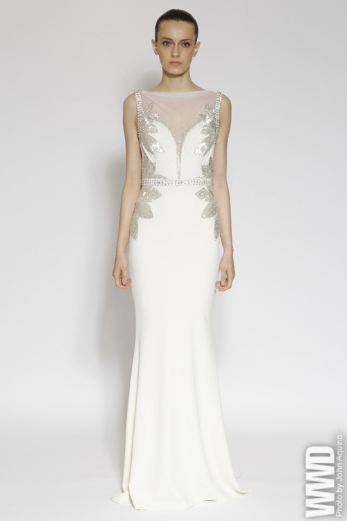 "womensweardaily:  Badgley Mischka Resort 2013 The new version of ""The Great Gatsby"" inspired the design duo right down to the mosaiclike motifs that riffed on the Gold Coast mansions.  For more"