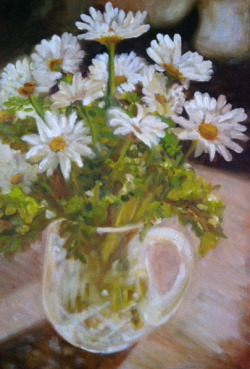 "Daisies. Commissioned work.  Oil on canvas.  12""x24""."