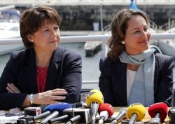 Pictured at a news conference in La Rochelle, Segolene Royal, right, sits next to socialist party first secretary, Martine Aubry Now Ms Royal, herself a former Socialist government minister who stood for the presidency in 2007, is standing for a place in the National Assembly. Ms Royal gained 32 per cent of the vote in the first round of parliamentary elections on Sunday in the western constituency of La Rochelle, and hopes to win outright in the second round on Sunday.
