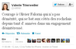 "In a tweet, Trierweiler praised Olivier Falorni, who is running against Royal for the La Rochelle constituency in Sunday's second round of the parliamentary elections. ""Good luck to Olivier Falorni who is a worthy candidate,"" the Paris Match journalist wrote. ""For years he has been fighting with selfless commitment for the people of La Rochelle."""
