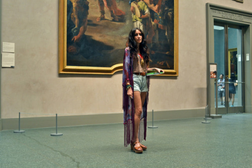 "Amanda was spotted in a motionless gaze in front of Tiepolo's 220 x 128 behemoth of a painting: ""The Triumph of Marius."" After snapping her out of her daze, Amanda was kind enough to let us take a few photos of her in full style mode. Hard to believe, but this was indeed a chance encounter. We later found out that Amanda spends a lot of time at the Met because she's doing research for a novel she's writing that's set in the basement of the Met. So if you see her at the museum one day, make sure to wish her luck on her novel. (photo by Xavier Aaronson)"
