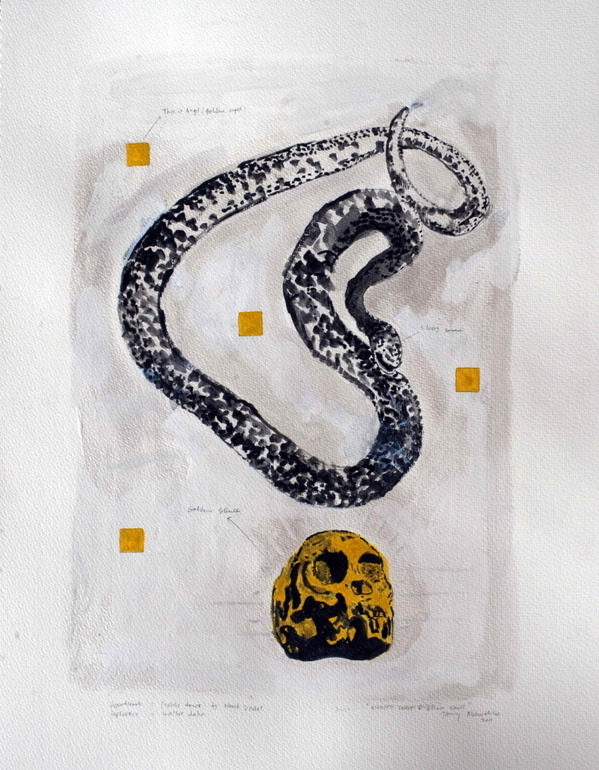 Jimmy Mahardhika - Silvery Snake And Golden Skull, 2011 Painting: Watercolors
