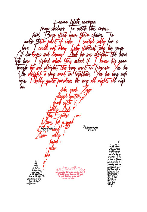 jezard:  I made this to celebrate Ziggy Stardust's 40th Anniversary. Happy Birthday Ziggy!