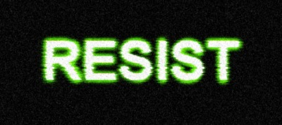 """Transmission Theme"" title for my story Resist.  Done with Gimp 2.6."